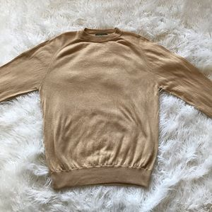 TOM JAMES TAN SILK CASHMERE BLEND RAGLAN SWEATER